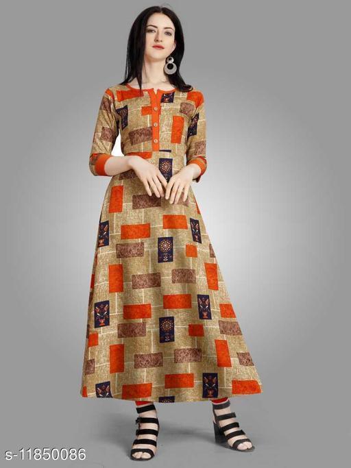 Women Crepe A-line Printed Orange Kurti