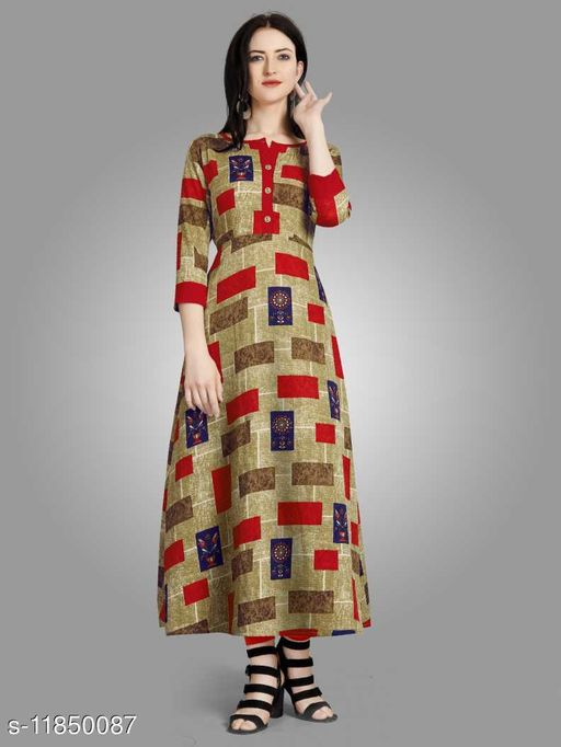 Women Printed Crepe A-line Gown