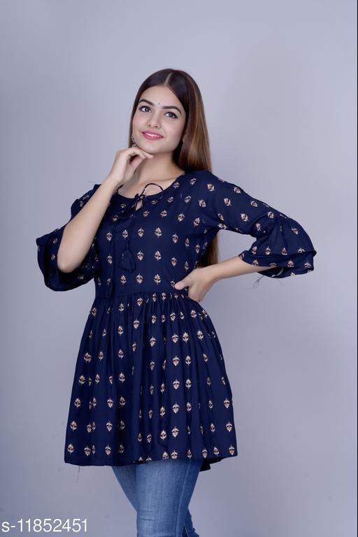 Women's Self-Design Rayon Anarkali Kurti