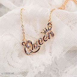 ARZONAI Trendy Fashion Alloy Necklace Simple Queen Pendant Chain Necklace For Women Girls…