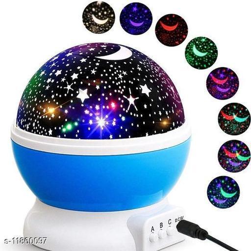 Rotating LED Star Moon Night Light Projector for Christmas | Baby Sleep Lighting USB Lamp Multicolour