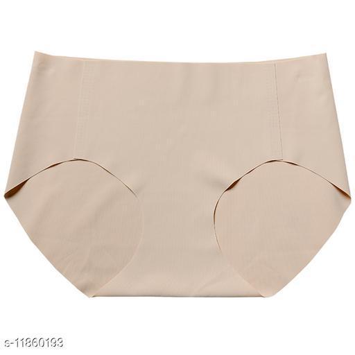 Women Seamless Beige Silk Panty