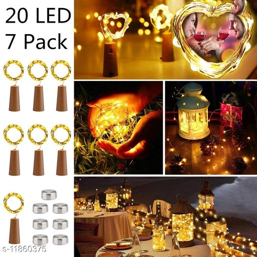 AAR BEE WORLD Wine Bottle Lights 7 Pack 2M 20 LED Copper Wire String Lights Battery Operated Micro Fairy Lights with Cork for DIY Indoor Bedroom Wedding Party Christmas Outdoor Decor (Warm White)