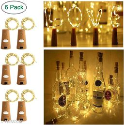 AAR BEE WORLD Wine Bottle Lights With Cork, Cork Lights For Bottle 6.5ft 20 Led Lights Battery Powered String Lights For Party Halloween Wedding Festival(Warm White,Silver Wire,Pack Of 6)