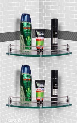 Ara Glass Corner Shelf/Wall Stand/Bathroom Shelf/Wall Shelf/Wall Rack/Bathroom Rack/Kitchen Shelf/Bathroom Accessories. (9X9-2, Clear)