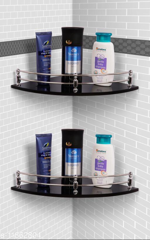 Ara Glass Corner Shelf/Wall Stand/Bathroom Shelf/Wall Shelf/Wall Rack/Bathroom Rack/Kitchen Shelf/Bathroom Accessories. (9X9-2, Black
