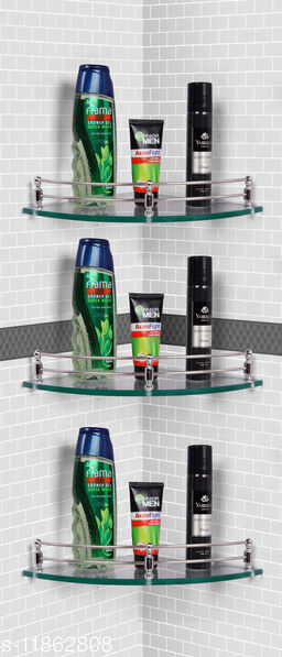 Ara Glass Corner Shelf/Wall Stand/Bathroom Shelf/Wall Shelf/Wall Rack/Bathroom Rack/Kitchen Shelf/Bathroom Accessories. (9X9-3, Clear)…