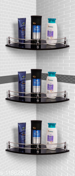 Ara Glass Corner Shelf/Wall Stand/Bathroom Shelf/Wall Shelf/Wall Rack/Bathroom Rack/Kitchen Shelf/Bathroom Accessories. (9X9-3, Black)…