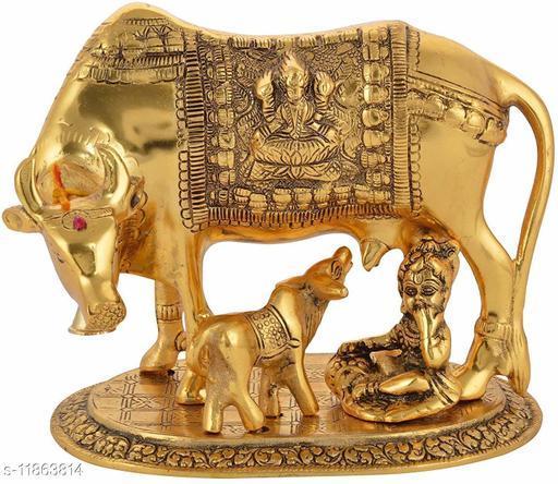UAPAN MetalCraft Kamdhenu Cow with Calf and Krishna Figurine Decorative Gift