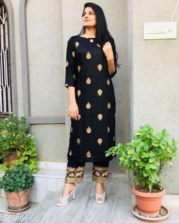 Women's Foil Print Black Rayon Kurta Set with Pants