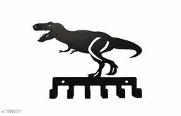 UTE STORE -DINOSAUR shape Metal Key Holder Black Color for Wall key chain hanging - Home Decoration - pack of 1