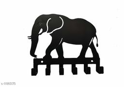 UTE STORE - ELEPHANT  shape Metal Key Holder Black Color for Wall key chain hanging - Home Decoration - pack of 1