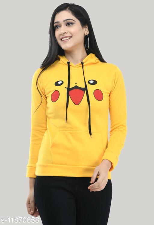 Trendy Full Sleeve Printed Women Sweatshirt Yellow