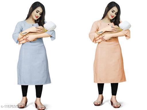 Women's Solid Cotton Maternity Kurtis and Feeding Kurtis