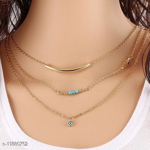 Beautitul Designed 3 Layers Blue Eyes Necklaces for Women and Girls Gift