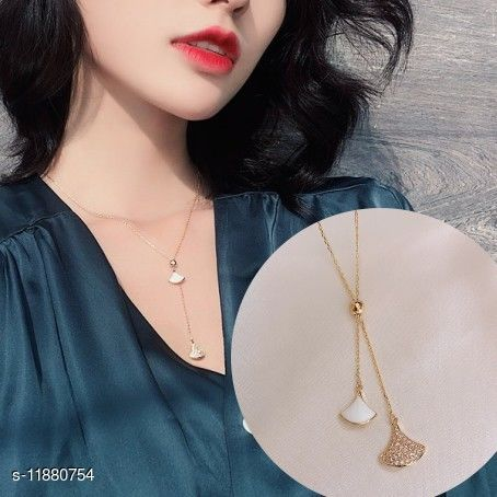 Stylish Trendy Designer Gold Plated Double Layers Necklace for Women and Girls Gift