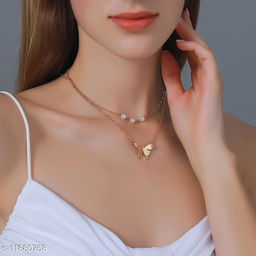 Designer Stylish Beautiful Double Layers Butterfly Necklace for Women and Girls Gift