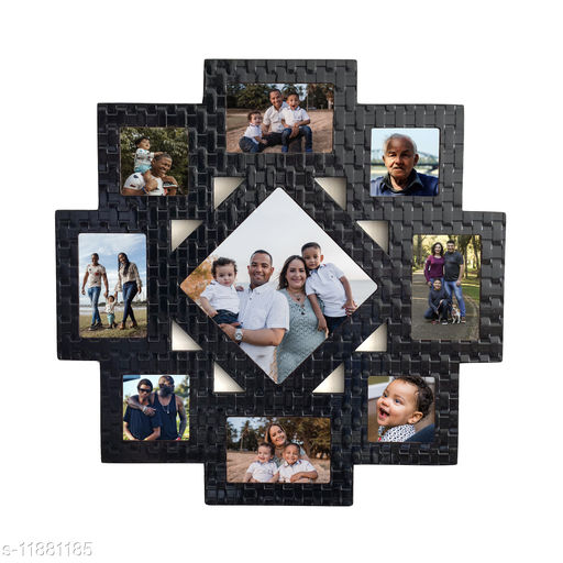 Picrazee Wooden 9 Pictures Wall Décor Collage Photo Frame (Black Textured, 24x24 inch)