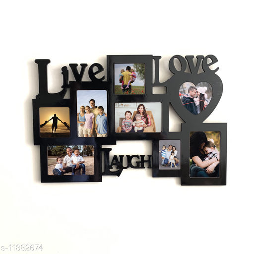 Picrazee Wooden 8-Pictures Live-Love-Laugh Wall Decoration Collage Photo Frame (Black, 16x24 inch)
