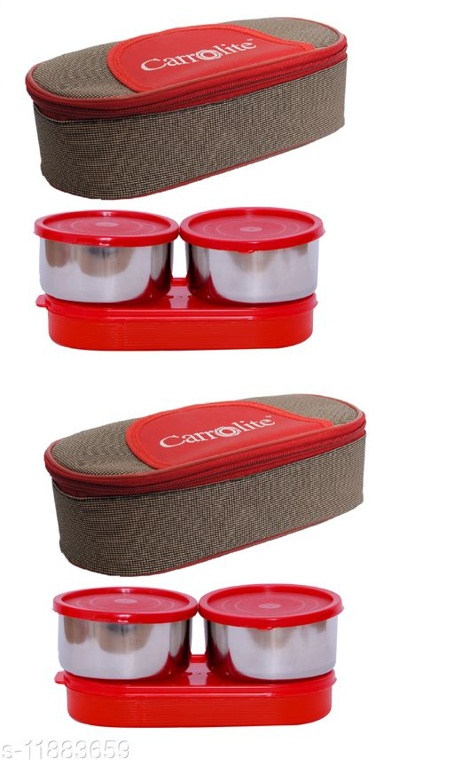 Combo Solace Red - Brown (All Red) Steel Lunchbox