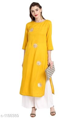 Women Cotton A-line Embroidered Yellow Kurti