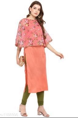 Women Poly Silk A-line Printed Orange Kurti