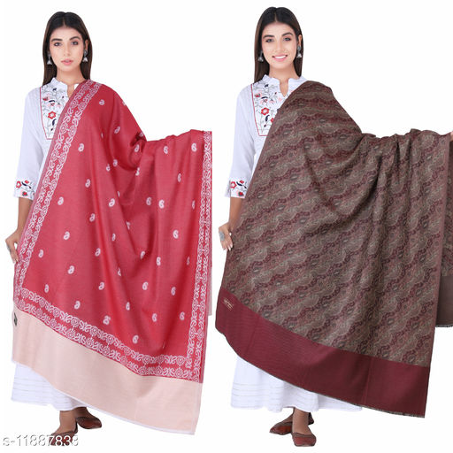 SAMBHAV EXTRA FINE WOOLEN PRINTED DESIGNED WINTER WEAR SHAWL FOR GIRLS AND WOMEN (PACK OF 2) (RED AND MAROON )