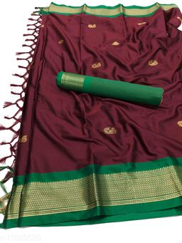 MH Traditional Paithani Silk Sarees With Contrast Blouse Piece  (Brown & Green)