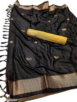 MH Traditional Paithani Silk Sarees With Contrast Blouse Piece (Black & Gold)