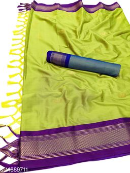 MH Traditional Paithani Silk Sarees With Contrast Blouse Piece  (Lemon & Purple)
