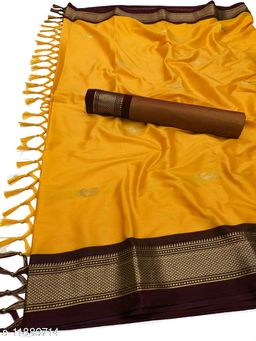 MH Traditional Paithani Silk Sarees With Contrast Blouse Piece  (Mango & Brown)