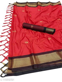 MH Traditional Paithani Silk Sarees With Contrast Blouse Piece  (Red & Black)