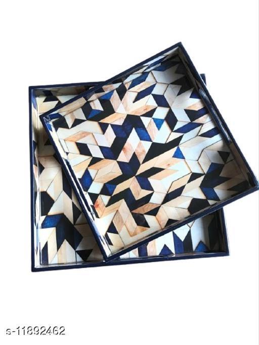 Blue Mosaic MDF Wood Enamel Coated Multipurpose Trays (set of 2)