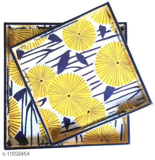 Yellow Sunshine MDF Wood Enamel Coated Multipurpose Trays (set of 2)
