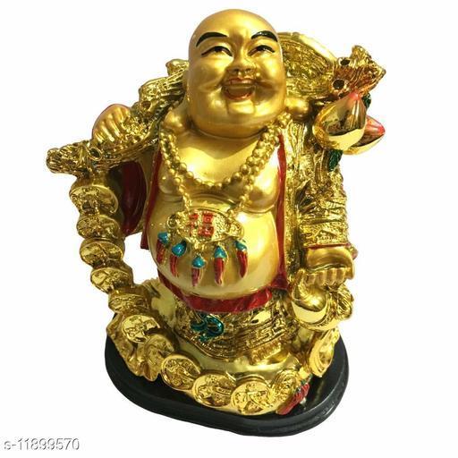 GJ Grand Jhaiji Laughing Buddha with Coin Chain - Golden