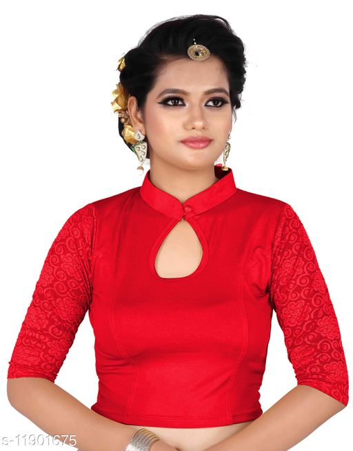 Women's Red color Lycra blouse with 3\4 sleeve and Round neck