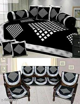 Excell loomtex Presents atractive Diamond Print Diwan Set which Contains 1 bedsheet, 2 bolsters, 5 Cushion Cover & 10 Sofa Covers.