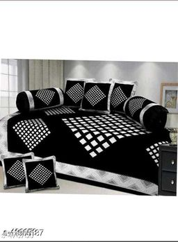 Excell loomtex Presents atractive Diamond Print Diwan Set which Contains 1 bedsheet, 2 bolsters, 5 Cushion Cover.