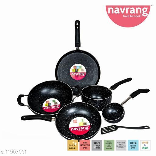 Navrang GRANITE Aluminium Nonstick 6 PC Cookware Set ,Tawa 275 + Kadai 230+ Fry Pan 200 + Sauce Pan 180 + Tadaka Pan + Spatula , Black & white Granite Finish -Non