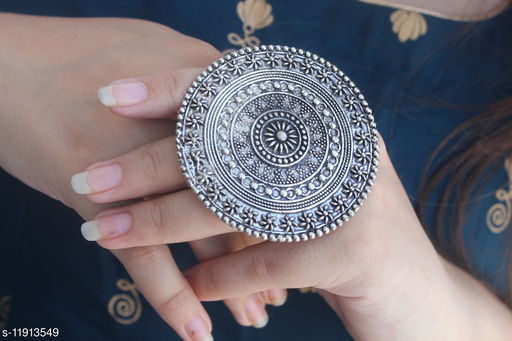 Oxidised Silver Sizzling Glittering Rings