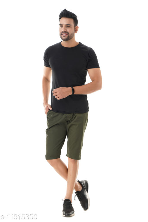 VIRANCHI THE CODE Men's Cotton 3/4 Shorts/Capri (Green)