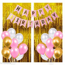 Balloons Combo of 35, 1 Piece Happy Birthday Banner, 30 Pink White and Gold  Balloons , 2 Curtains, Great Product