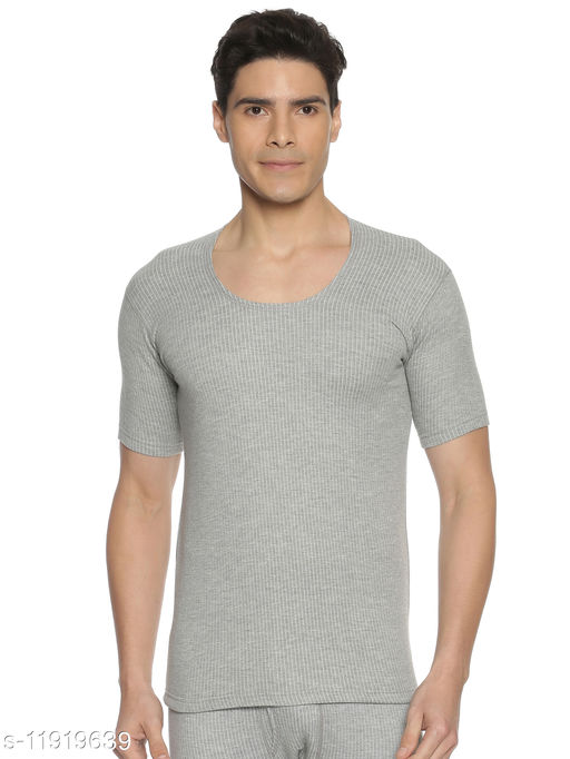 MODEL Men's Cotton Rich Brushed Interlock Fabric Low Neck Design Solid Half Sleeve Thermal Top