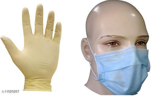 NUVO MEDSURG Surgexam Latex  Medium Examination Gloves- 10 Pcs & Disposable face mask - 10 Pcs