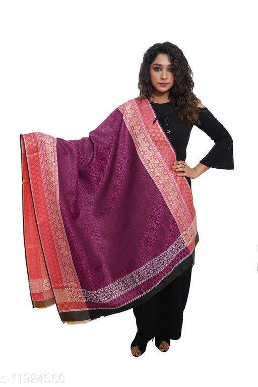 Women Designer border, Self embellished, wool blend shawl
