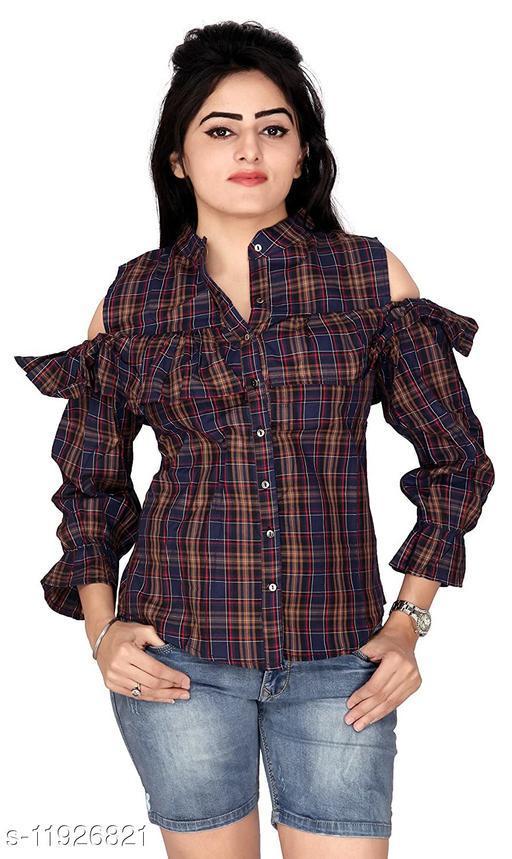 Carrel Cotton Brown Cutout Shoulder Women Shirt