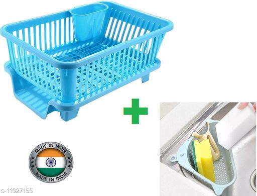 3 in 1 Kitchen Sink Dish Rack Drainer Drying Rack Wasing Basket With Tray For Kitchen,Dish Rack Oraganizers And Sink Corner. (Blue)