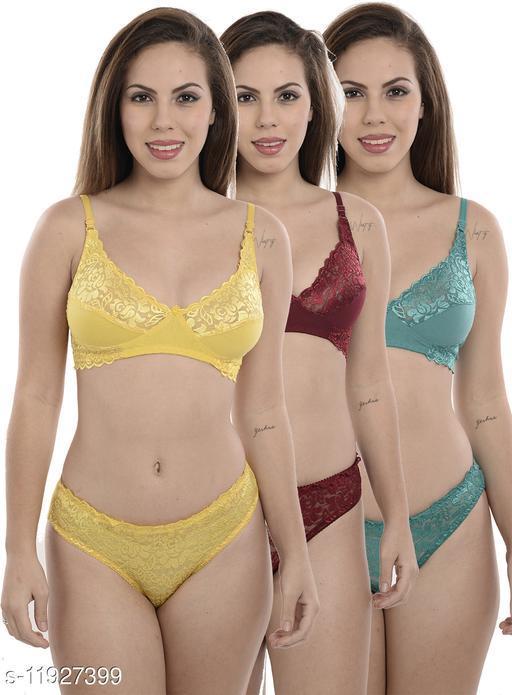 Women's Lace Polycotton Lingerie Sets