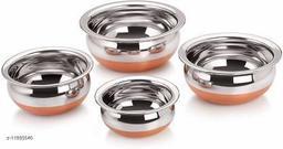 Kitchen Serving Handi Set Of 4 (  Size  2.1 L, 1.6 L, 1.1 L, 0.8 L Stainless Steel)