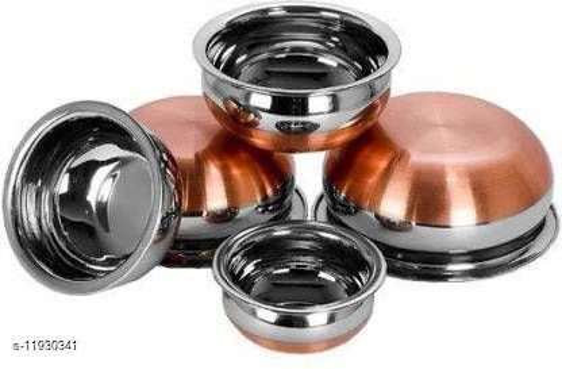 Copper Bottom Handi Pot 5 Piece Set/Steel Handi Set of 5 Piece Set Handi Handi 2.1 L, 1.6 L, 1 L, 0.75 L, 0.5 L  (Stainless Steel)